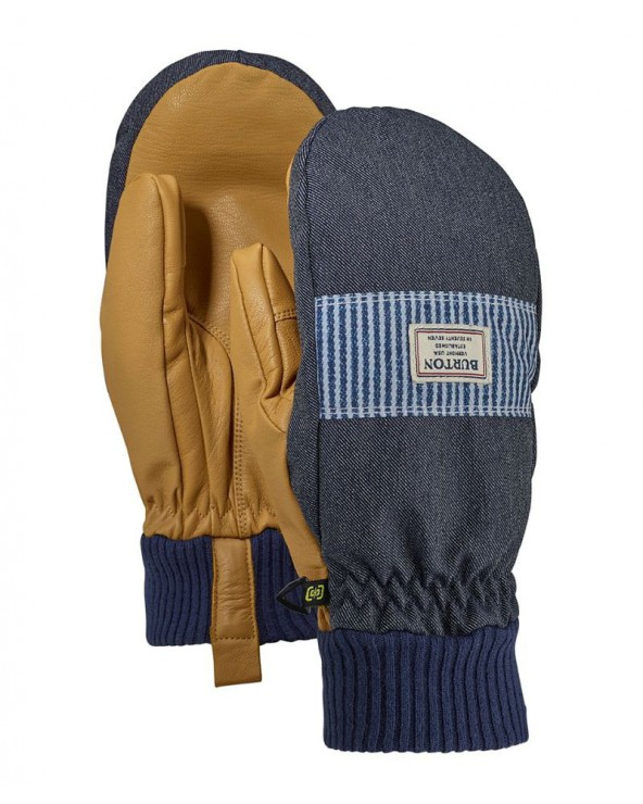 Burton Dam Mitt Mittens - Denim / Open Road Stripe