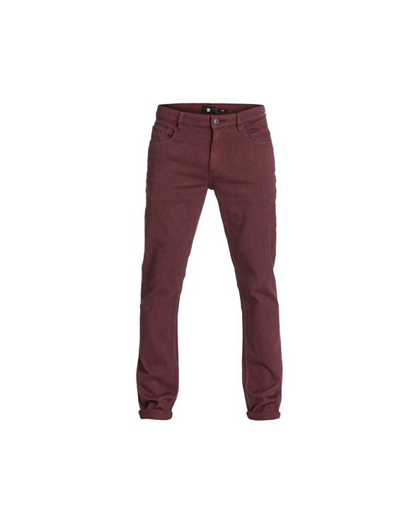 "DC Worker Slim Color 34"" Inseam Jeans. Zinfandel"