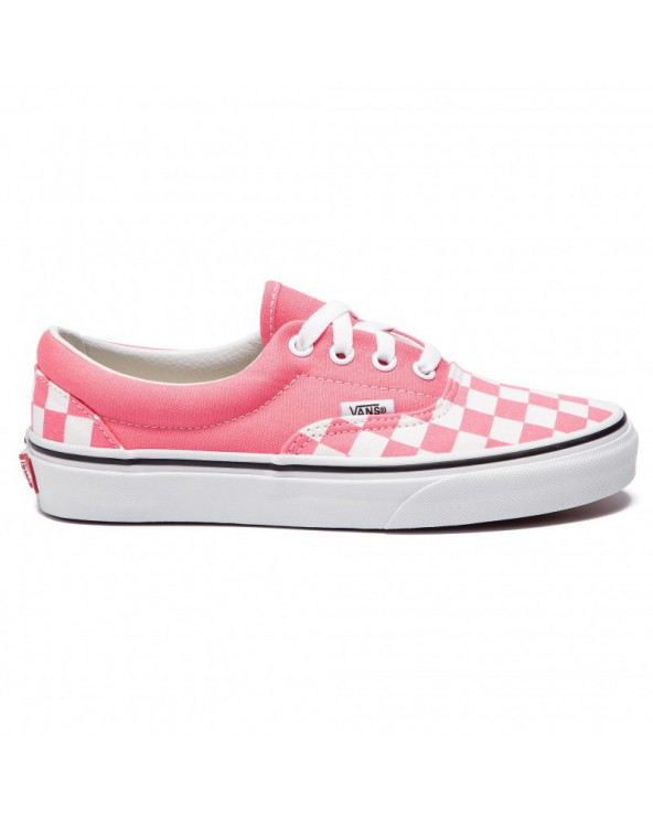 Vans Era Checkerboard Shoes - Strawberry Pink / True White