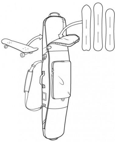 Burton Gig Bag 146 - Aqua Gray Revel Stripe Print