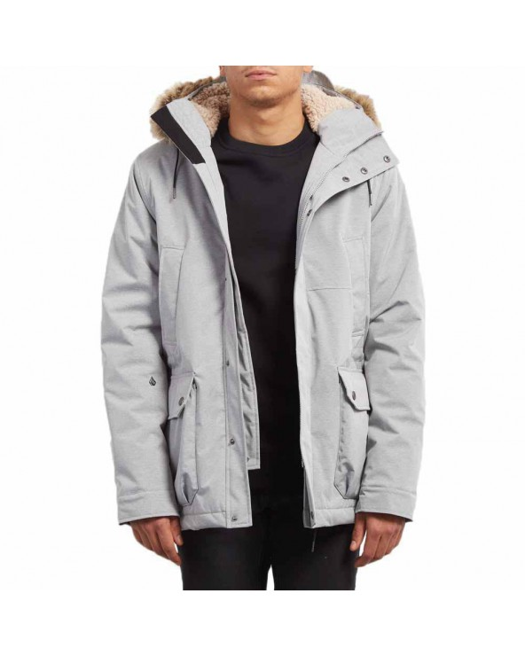Volcom Lidward Parka Jacket - Light Grey (lrg)