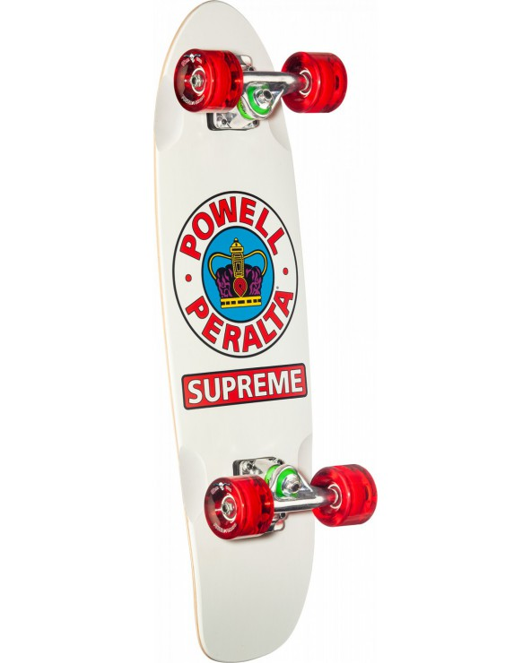 "Powell Peralta Sidewalk Surfer Supreme White Cruiser Complete Skateboard - 7.75"" x 27.20"""