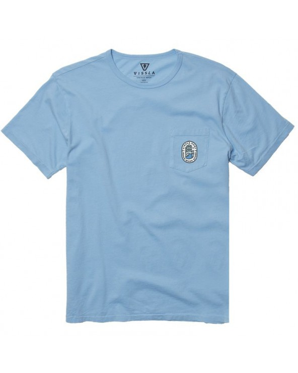 Vissla Sacred Palms Vintage Wash Pocket Tee - Pacific Blue