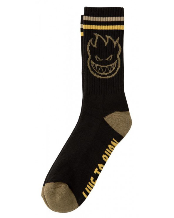 Spitfire Socks Big Head - Black/Gold/Olive - One Size