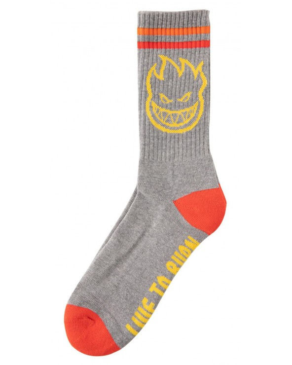 Spitfire Socks Big Head - Heather Gry/Yellow/Red - One Size