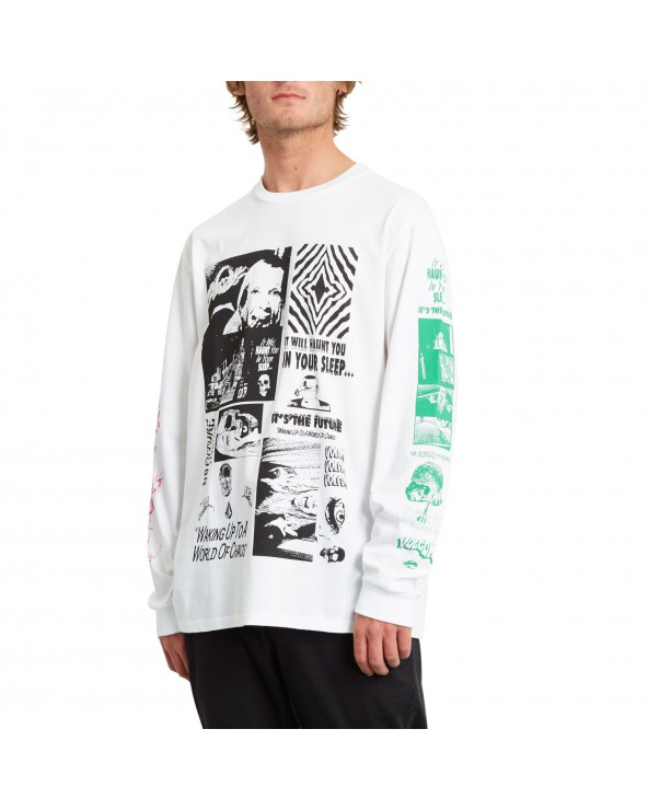 Volcom Bit Of Brain Basic Long Sleeve - White