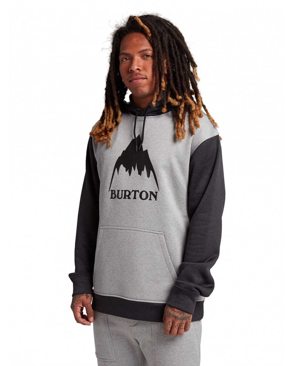 Burton Oak Hoodie - Gray Heather / True Black