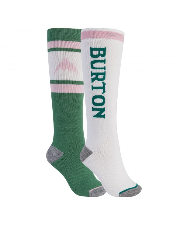Burton Wms Weekend Midweight 2-Pack Snowboard Socks  - Frosty Spruce / Stout White