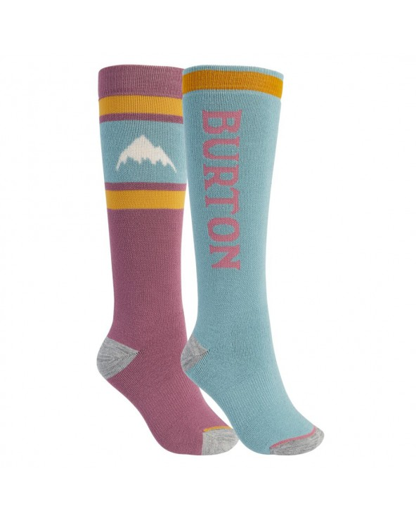 Burton Wms Weekend Midweight 2-Pack Snowboard Socks  - Raspberry Wine Trellis